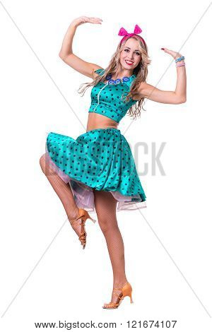 Disco dancer showing some movements against isolated white