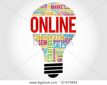 ONLINE bulb word cloud collage, business concept background