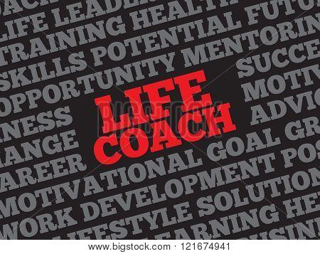 Life Coach word cloud, business concept, presentation background