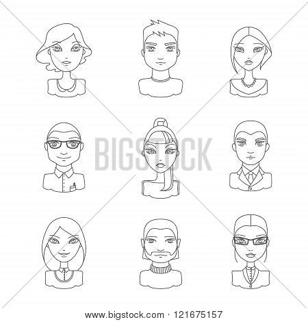 Linear style people icon set. Modern men and women in outline style different characters and personalities. Vector illustration in outline style.