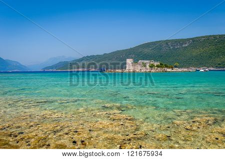 Dreamy bay and small fortress on the island