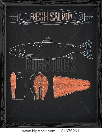 Fresh Whole One Young Salmon , Fillets And Steaks