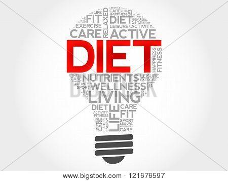 Diet bulb word cloud health concept, presentation background