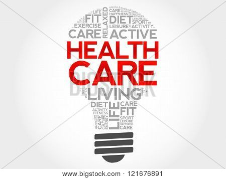 Health Care Bulb Word Cloud