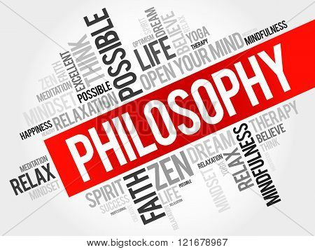 Philosophy word cloud collage concept, presentation background