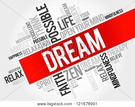 Dream word cloud collage concept, presentation background
