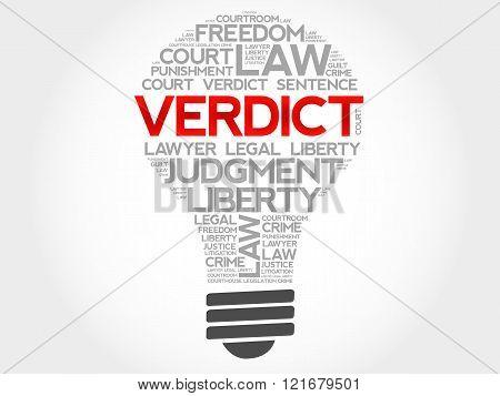 Verdict bulb word cloud concept, presentation background