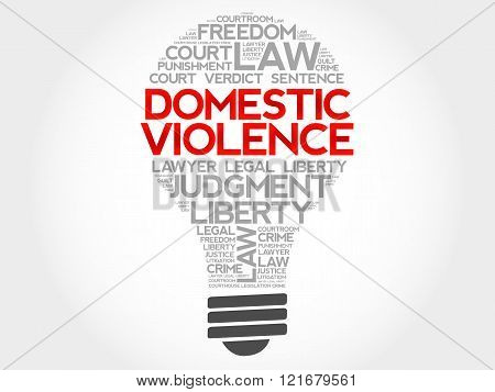 Domestic Violence bulb word cloud concept, presentation background