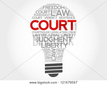 Court bulb word cloud concept, presentation background