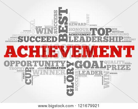 Achievement word cloud business concept, presentation background
