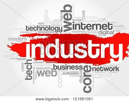 Industry word cloud business concept, presentation background