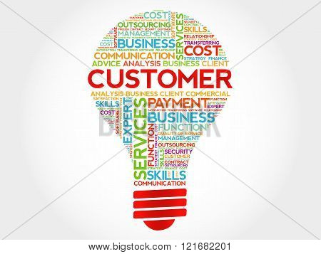 Customer bulb word cloud business concept, presentation background