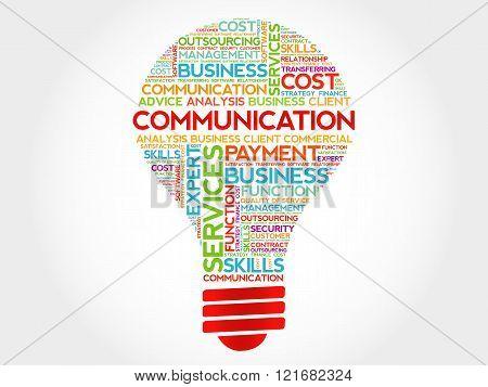 Communication bulb word cloud business concept, presentation background