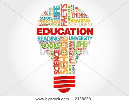 EDUCATION bulb word cloud business concept, presentation background
