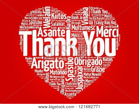 Thank You in many languages love heart, presentation background