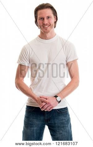 Man in jeans and white tee shirt. Studio shot over white.