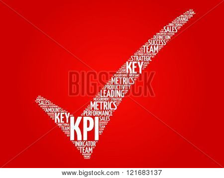 KPI - Key Performance Indicator check mark vector business concept words cloud