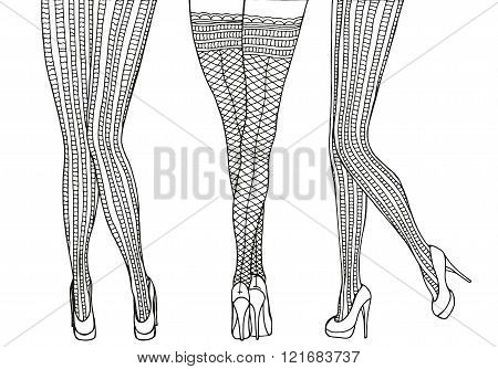 Pattern for coloring book. A4 size. Sexy female legs in tights . Hand-drawn retro doodle vector zentangle design elements.
