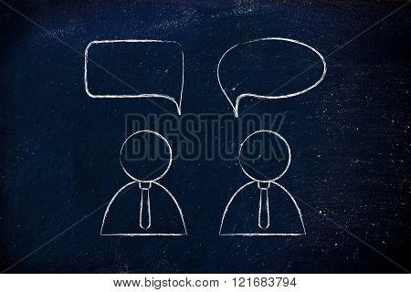 Businessmen Conversation Dialogue With Comic Bubble