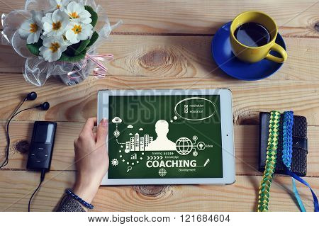Laptop Computer, Tablet Pc And Coaching Design Concept On Wooden Office Desk