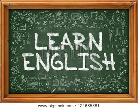 Learn English Concept. Green Chalkboard with Doodle Icons.
