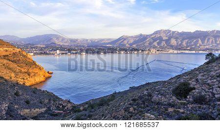 Sunrise Over Altea Bay, Costa Blanca. Spain, Alicante. Panoramic View.