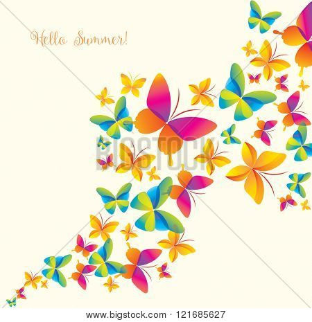 Background with Colorful Butterflies. Summer and Spring Banner.