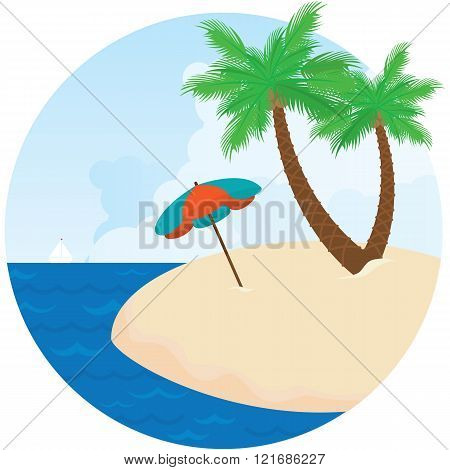 Summer island. Parasol, sea and palm trees on the beach.