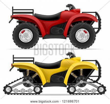 Atv Motorcycle On Four Wheels And Trucks Off Roads Vector Illustration