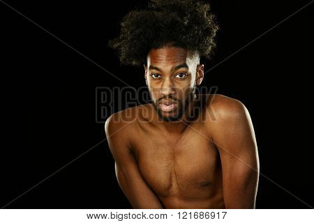 Young African American man with nude