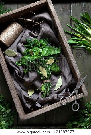 Fresh spring garni bouquet herbs natural organic spices