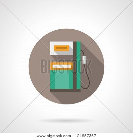 Green gas station round flat color vector icon