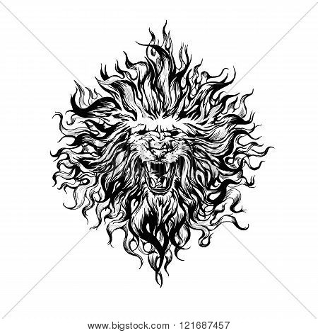 Hand drawn  vintage graphic lion head.
