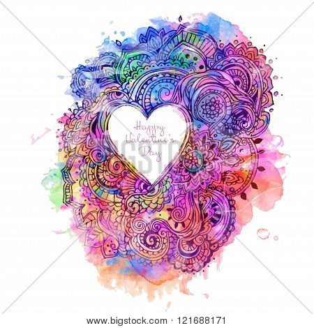 Hand drawn greeting card ornament Happy Valentine's Day. Lace pattern design Vector decorative banner of card or invitation design Vintage traditional, Islam, arabic, indian, ottoman motifs watercolor