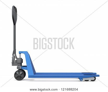 Hand pallet truck isolated on white background. Side view. 3d re