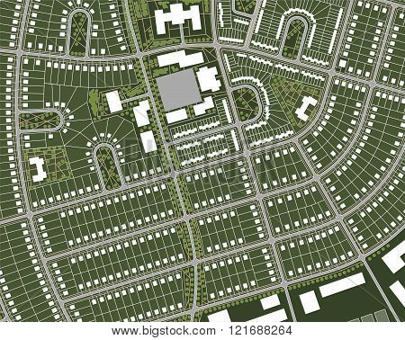 Generic nameless village map with streets houses green belts and central square.