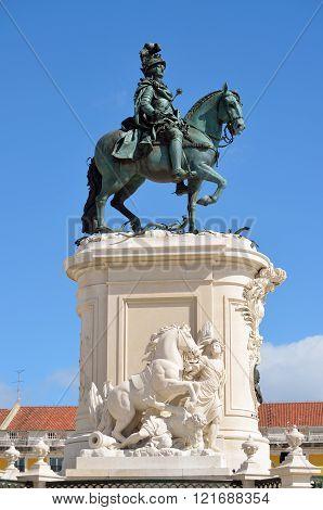 Statue of King Jose in Praca do Comercio Lisbon Portugal