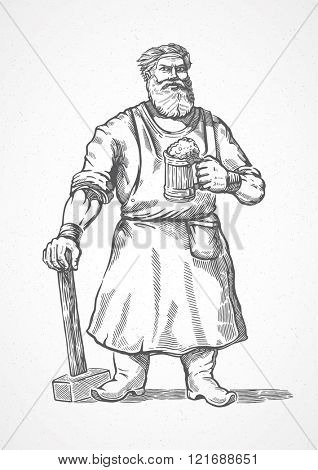 Smith standing with hammer in hand and a mug of beer. Graphical element in style engraving.