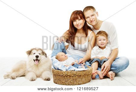 Dog And Family on White, Children Father Mother Pet