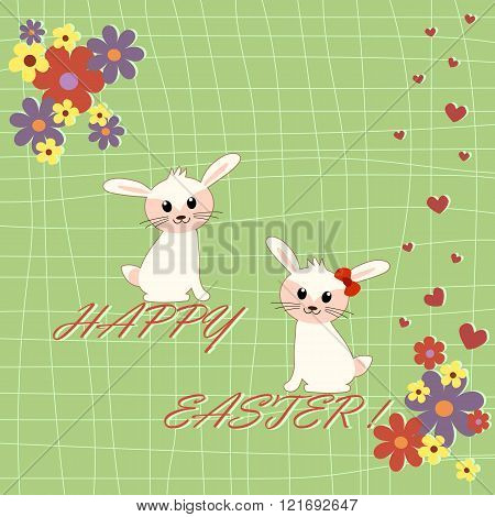 Funny Card With Two Cute Rabbits In Cartoon Style