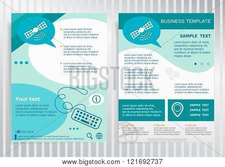 Satellite Icon  On Vector Brochure