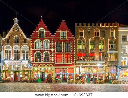 Brugge. Market Square at night.