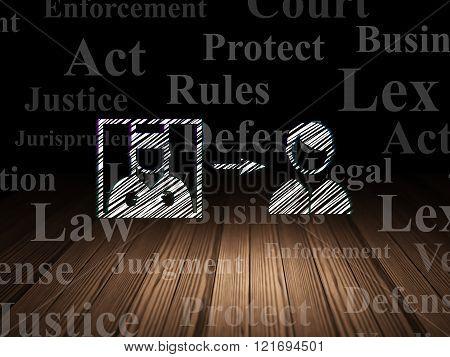 Law concept: Criminal Freed in grunge dark room