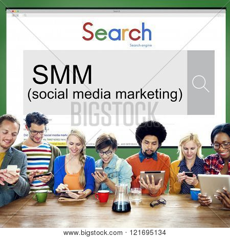 SMM Social Media Marketing Advertising Online Business Concept