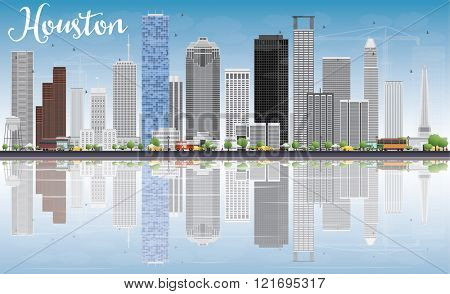 Houston Skyline with Gray Buildings, Blue Sky and Reflections. Business Travel and Tourism Concept with Modern Buildings. Image for Presentation Banner Placard and Web Site.