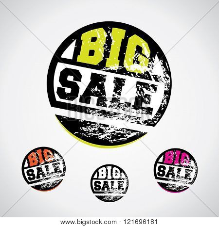 Big sale price tag, catchy circle design with grungy ink splatter