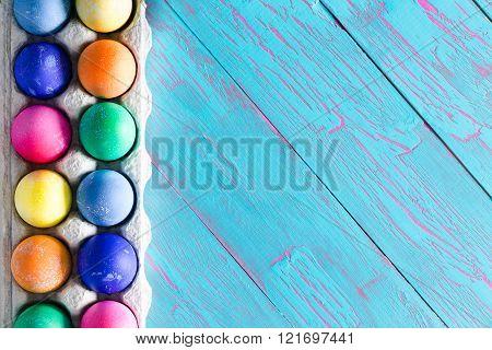 Festive Easter Border Of Hand Dyed Eggs