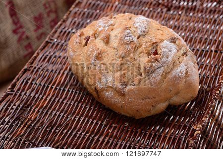Natural Yeast Bread on a brown basket