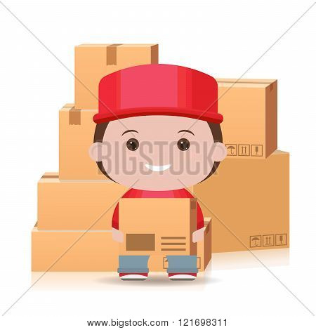 express delivery postman. 3d box Delivery and flat courier isolated on white background. delivery ma