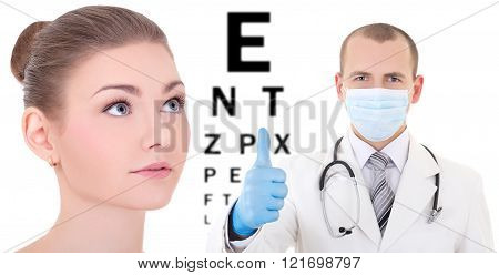 Ophthalmology Concept - Beautiful Woman With Doctor Isolated On White